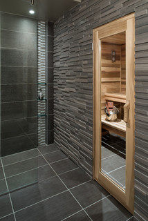 Basement Spa Bath And Sauna Contemporary Bathroom