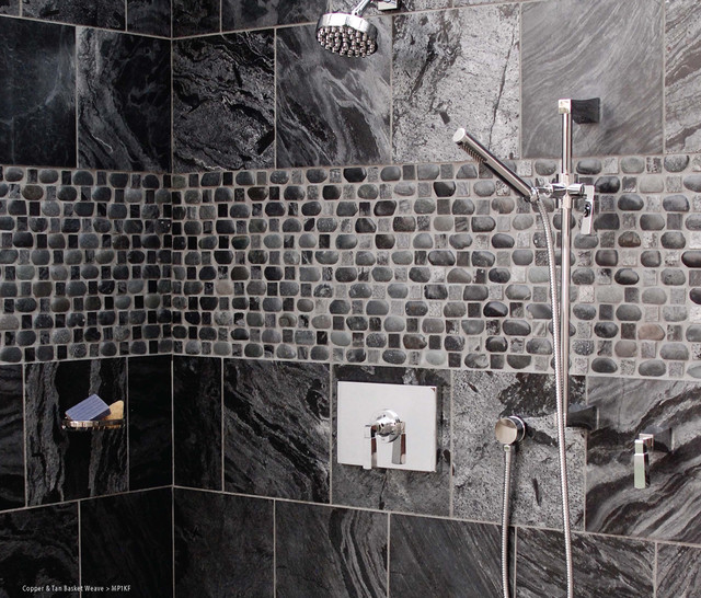 Basket Weave Pebble Designed Shower Modern Bathroom