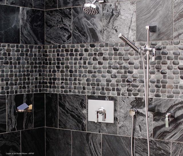 basket weave pebble designed shower