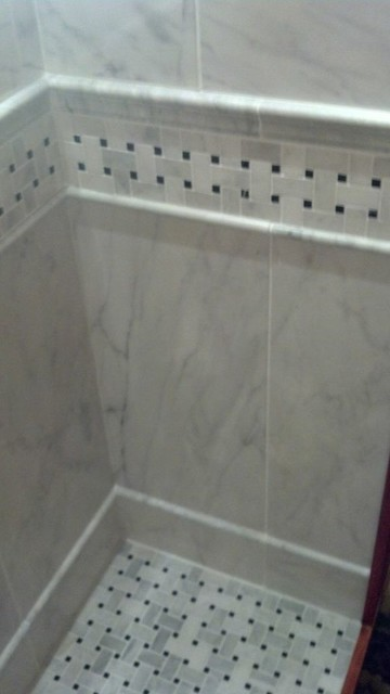 Basketweave Marble Shower Floor and Border - Traditional - Bathroom ...