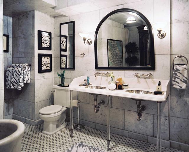 Basketweave Mosaic Tiles Traditional Bathroom