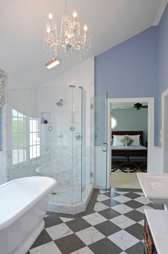 Example of a classic master marble floor and multicolored floor bathroom design in Columbus with a pedestal sink, blue walls and a two-piece toilet