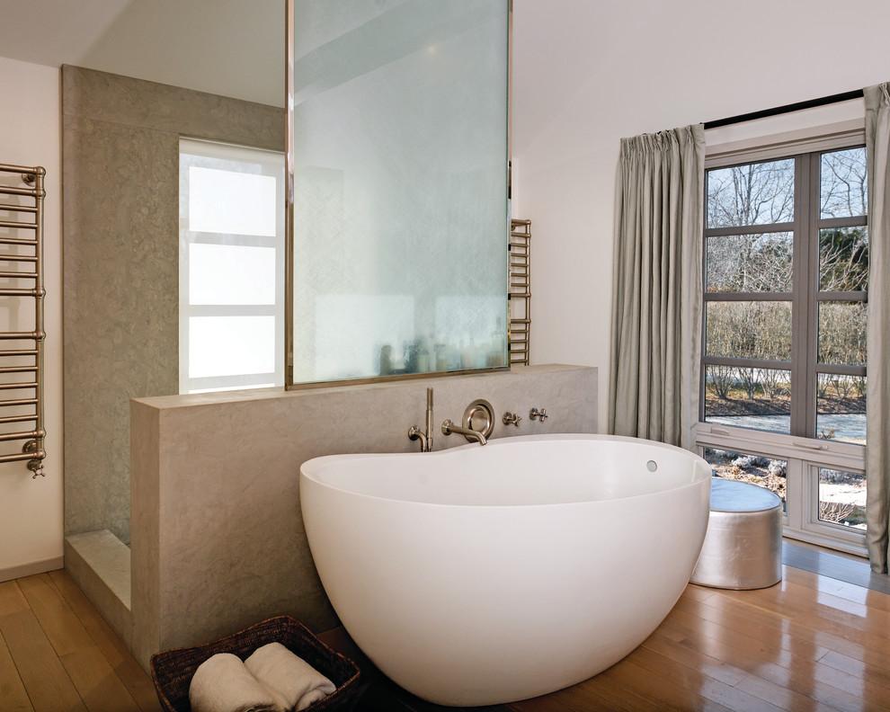 Bathroom - contemporary beige tile bathroom idea in New York