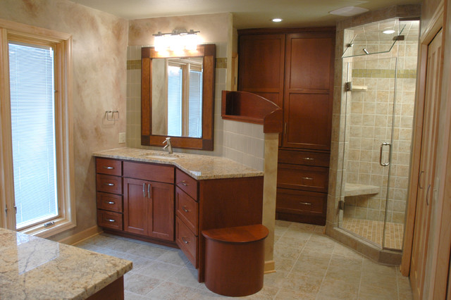 Bath Features Sunny Flower Granite Cherry Wood And Porcelain Traditional Bathroom