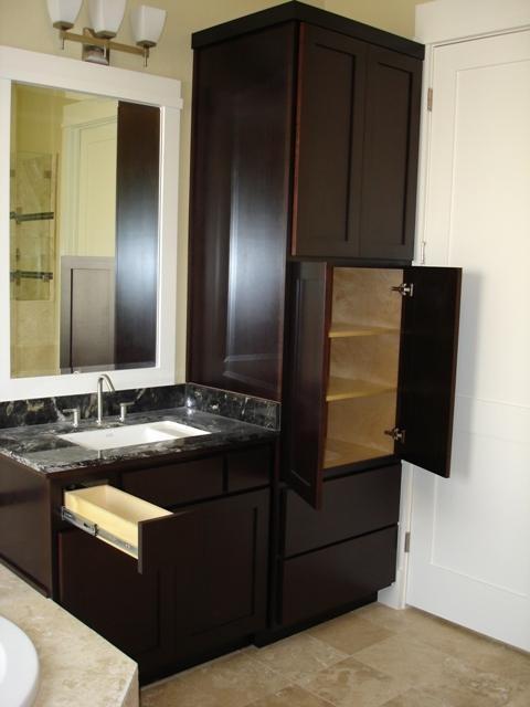 Bath Linen Vanity Contemporary, Bathroom Vanity And Linen Cabinet