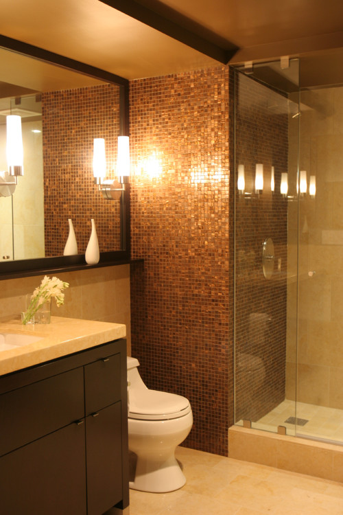 Bathroom floor and shower tile images needed with brown for Contemporary guest bathroom design ideas