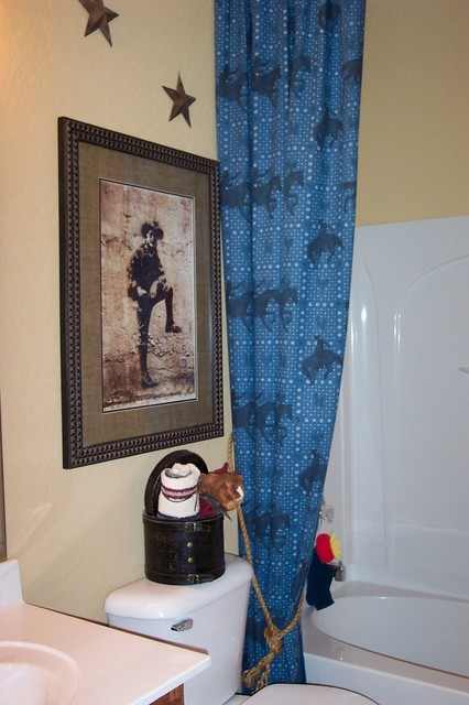 Bath swags and drapery styles rustic-bathroom
