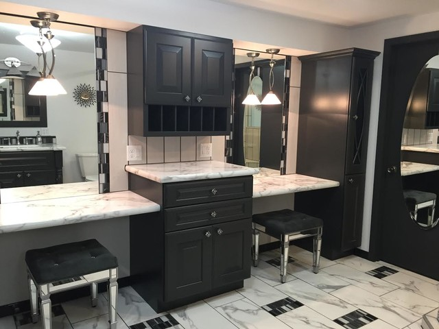 Corner shower - large contemporary 3/4 porcelain floor and multicolored floor corner shower idea in Other with raised-panel cabinets, gray cabinets, gray walls, an undermount sink, laminate countertops and a hinged shower door