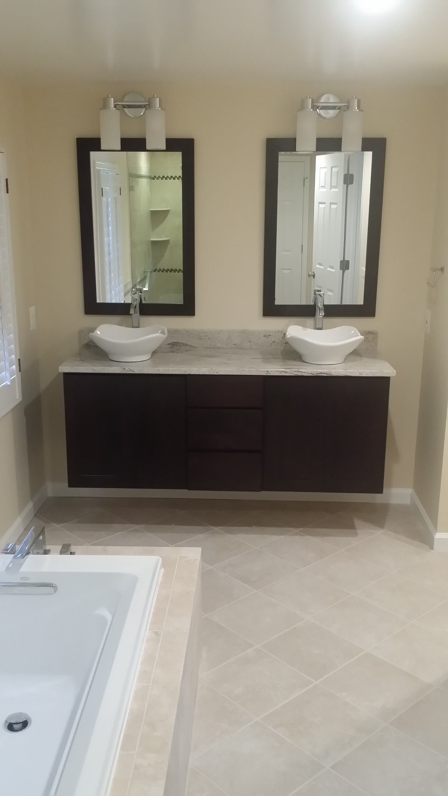 Bath With Floating Cabinet