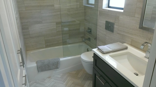 Bathroom 12 x 24 valentino gray marble walls floor for Grey marble bathroom