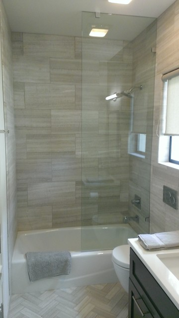 Bathroom 12 x 24 valentino gray marble walls floor for 12x24 bathroom tile ideas