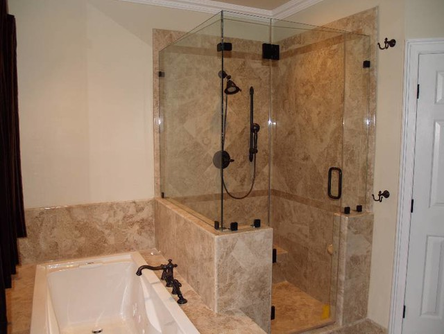 Bathroom Shower Remodel Transitional Bathroom Dallas By Floor N