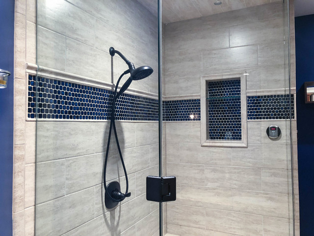 bathroom and steam shower in finished basement cherry creek west