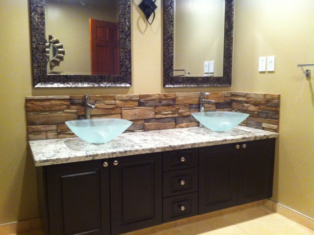 Bathroom backsplash mediterranean bathroom calgary for Granite and tile bathroom ideas
