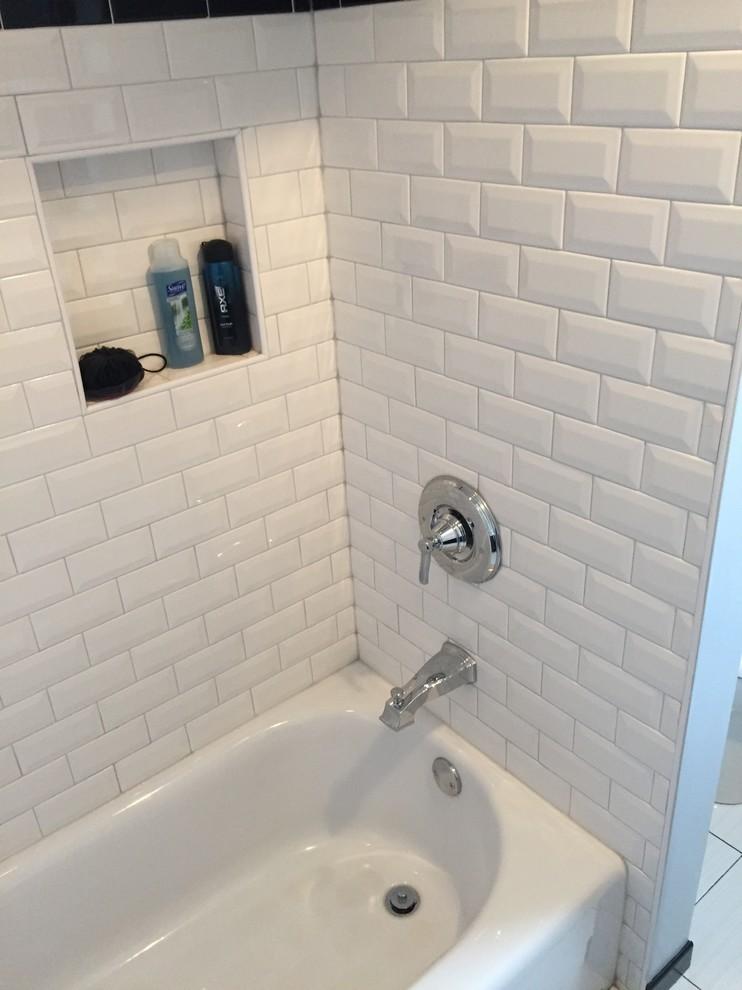 Bathroom Beveled Subway Tile Transitional Bathroom