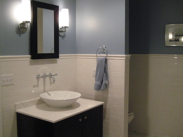 bathroom blue wall paint white subway wall traditional bathroom