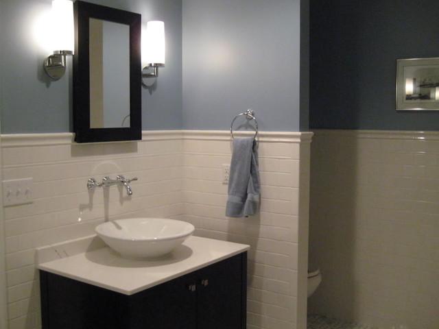 Wonderful Bathroom: Blue Wall Paint + White Subway Wall Traditional Bathroom