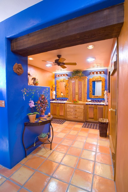 Bathroom- Bold Mexican-style - Mediterranean - Bathroom - phoenix - by MCCALEB CONSTRUCTION INC