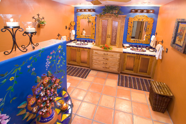 Bathroom bold mexican style mediterranean bathroom for Mexican themed bathroom ideas