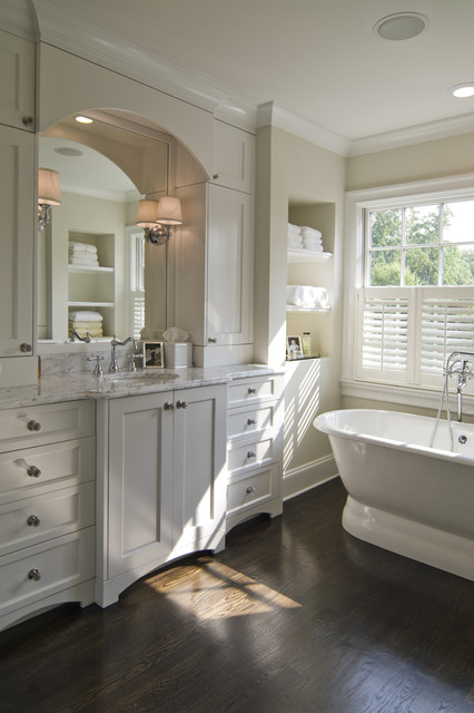 Inspiration for a timeless freestanding bathtub remodel in Charlotte with an undermount sink, shaker cabinets and white cabinets