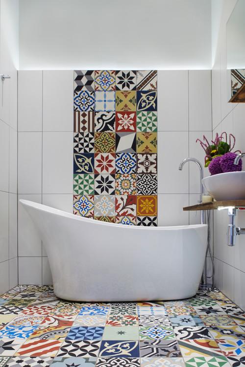 μπάνιο, τσιμεντοπλακάκια, χειροποίητα πλακάκια, πρωτότυπα μπάνια.