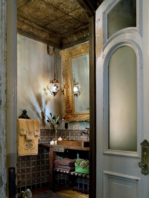 Tin ceiling bathroom