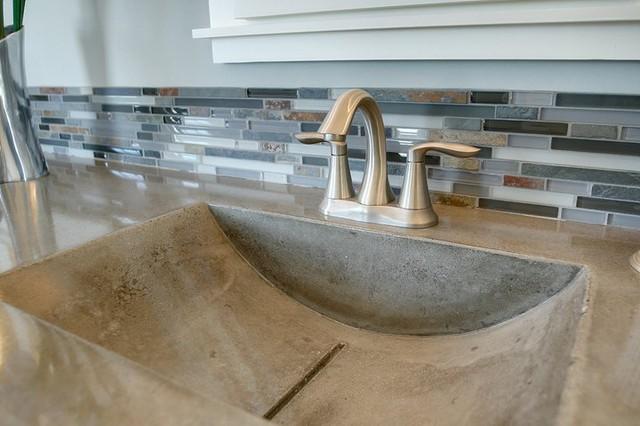 Bathroom concrete sinks modern-bathroom