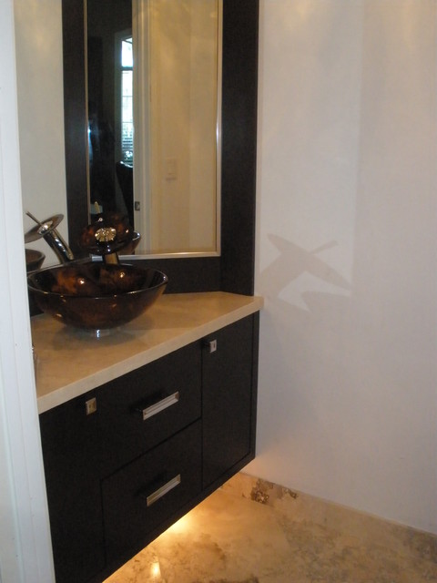 Bathroom corner mirror, bathroom floating cabinet with light, Venitian plaster, - Contemporary ...