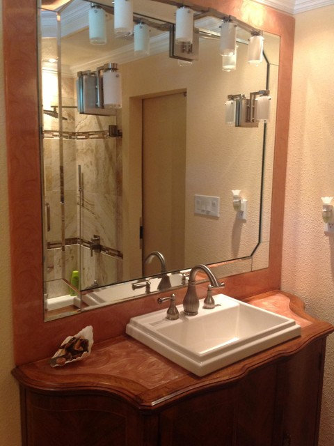 Bathroom Counter and Mirror Frame Copper Swirl traditional-bathroom