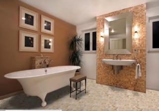 Salle de bain avec un carrelage orange et un mur marron ...