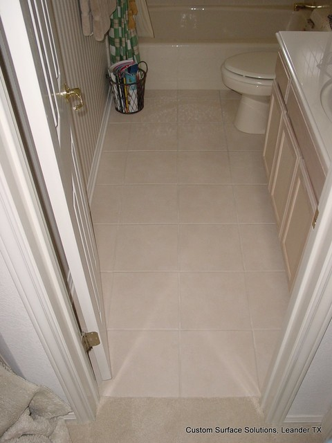 Bathroom - Cream Color Ceramic Tile Tub Surround and Floor ...