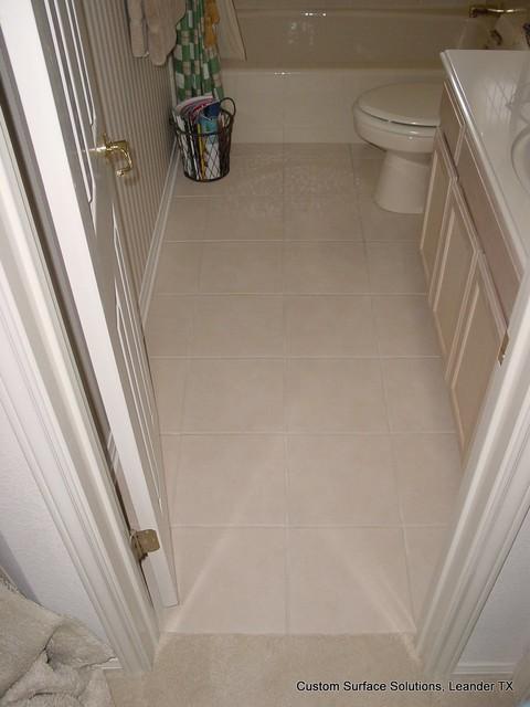 Bathroom Cream Color Ceramic Tile Tub Surround And Floor