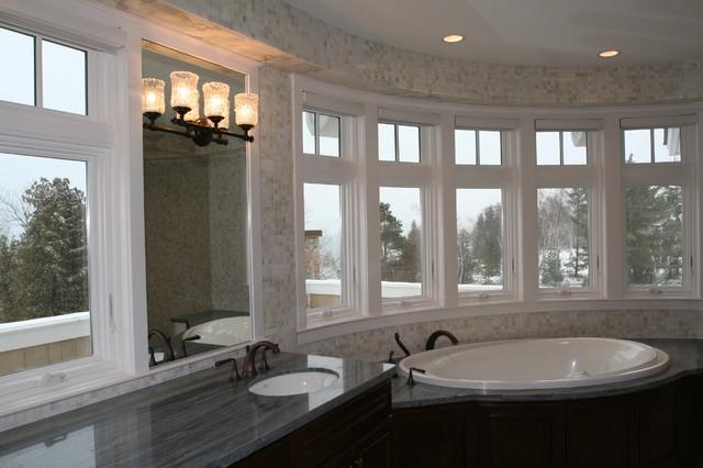 Bathroom Curved Window Trim Contemporary Bathroom