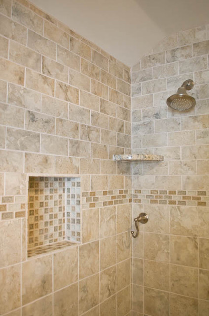 Bathroom Design and Remodel with beige/grey tile - traditional ...