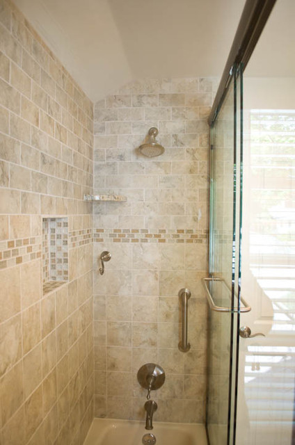Bathroom Design And Remodel With Beige Grey Tile