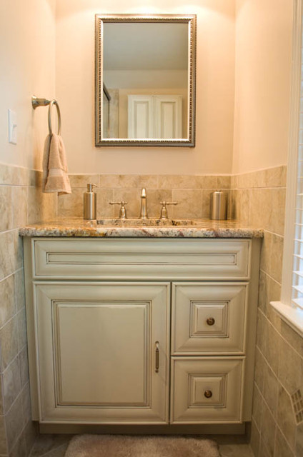 Bathroom design and remodel with beige grey tile for Beige bathroom set