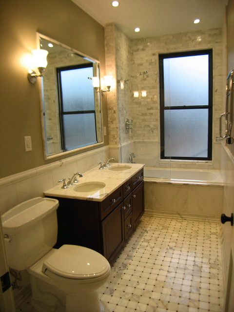Brownstone renovation master bath traditional for Kitchen bathroom photos