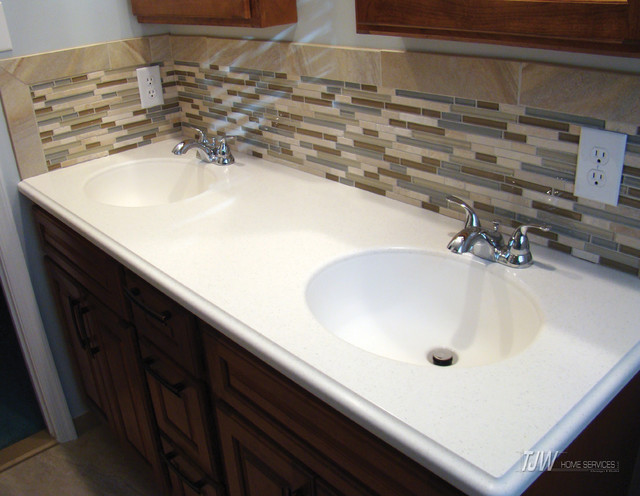 Bathroom Double Sink with Backsplash Contemporary