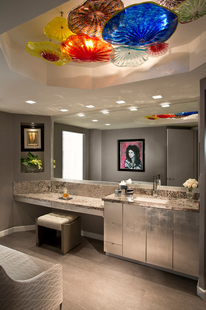 Bathroom - contemporary master bathroom idea in Miami with an undermount sink, flat-panel cabinets, gray cabinets and gray walls