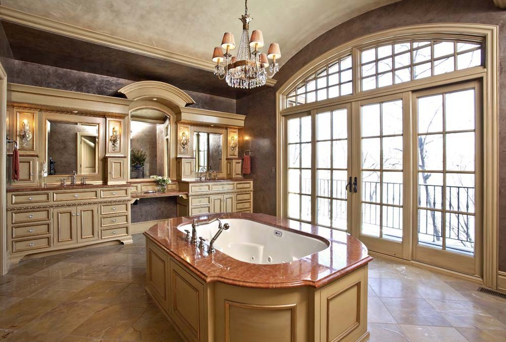 Inspiration for a timeless stone tile bathroom remodel in Minneapolis