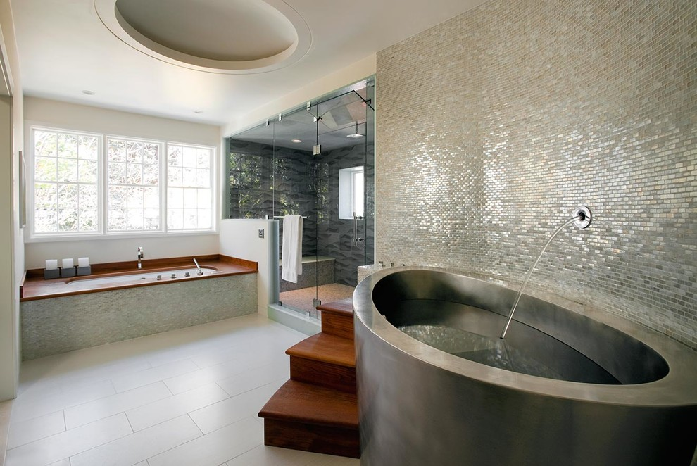 Trendy mosaic tile bathroom photo in Other