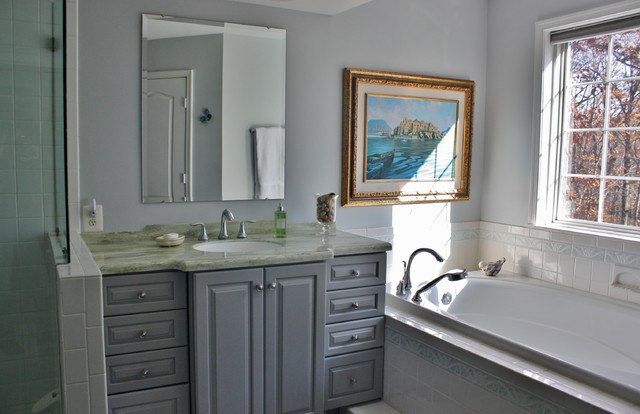 Bathroom   Kraftmaid Marquette Door Style U0026 Maple Pebble Grey  Transitional Bathroom