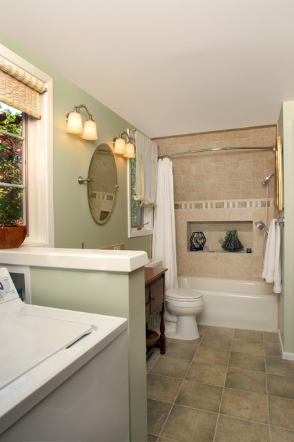 Bathroom laundry room remodel eclectic bathroom for Laundry in bathroom ideas
