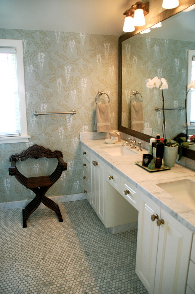 Example of a classic mosaic tile bathroom design in Los Angeles with marble countertops and multicolored walls