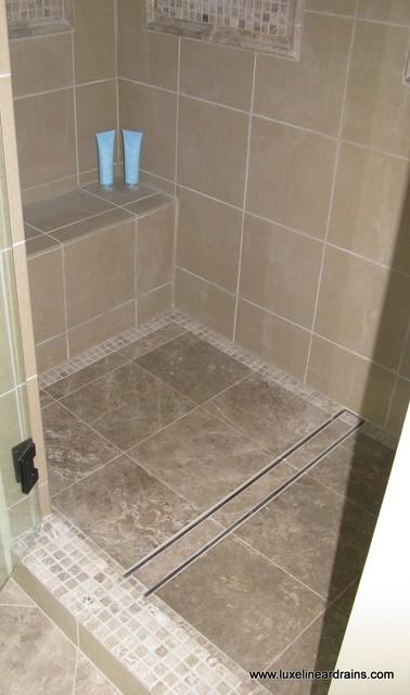 luxe tile insert linear drain bathroom atlanta by