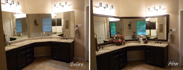 Framing A Bathroom Mirror Before And After mirrormate mirror frame before & after - bathroom - austin -
