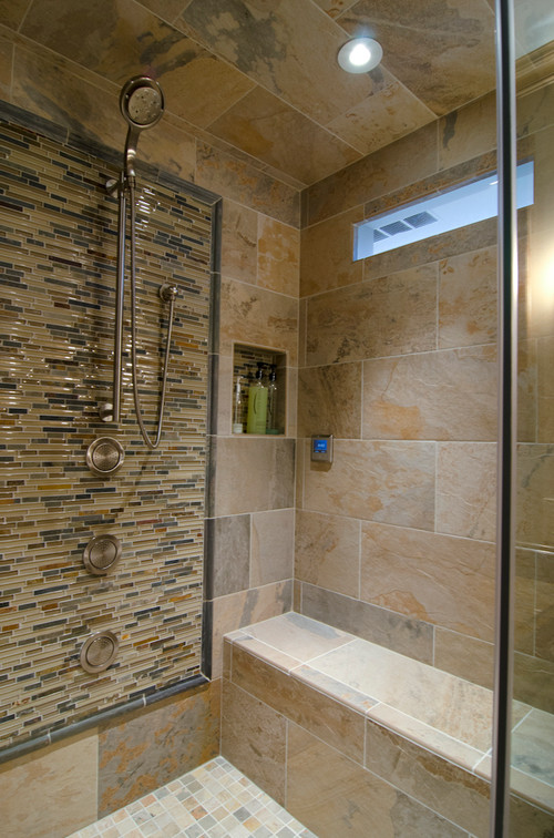 Grout With Ochre Slaty And Glass Stone Mosaic