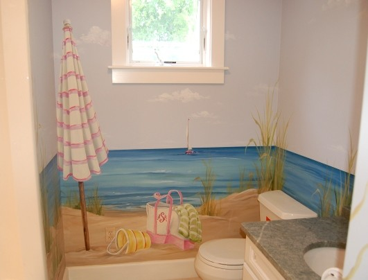 15 Beach Themed Bathroom Design Ideas: Bathroom Murals