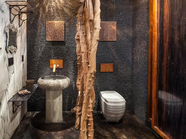 Industrial Badezimmer mit Sockelwaschbecken und Betonboden in Portland