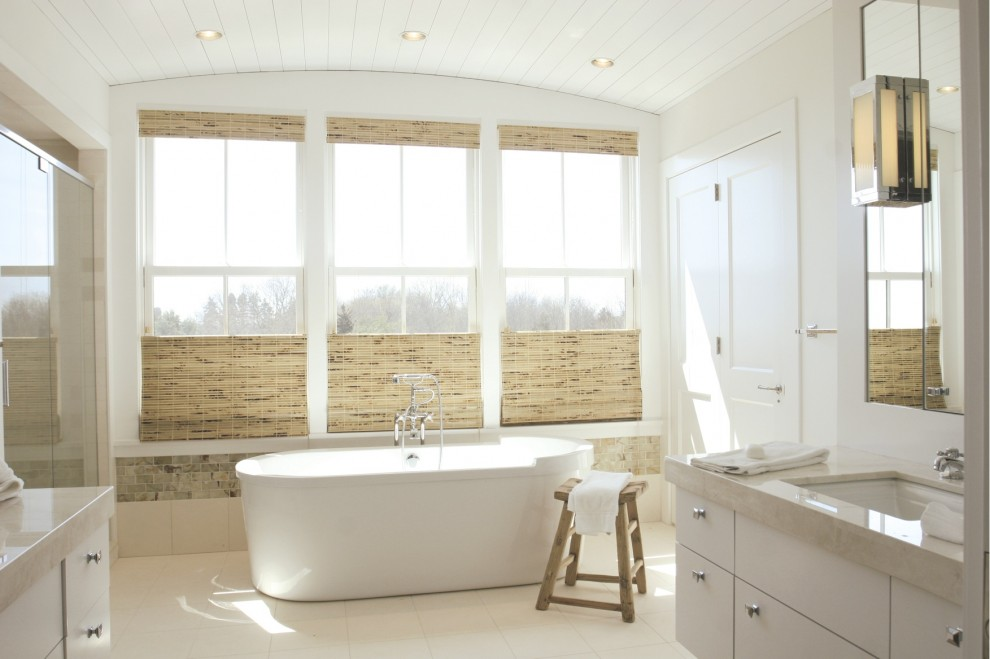 Freestanding bathtub - coastal freestanding bathtub idea in Providence